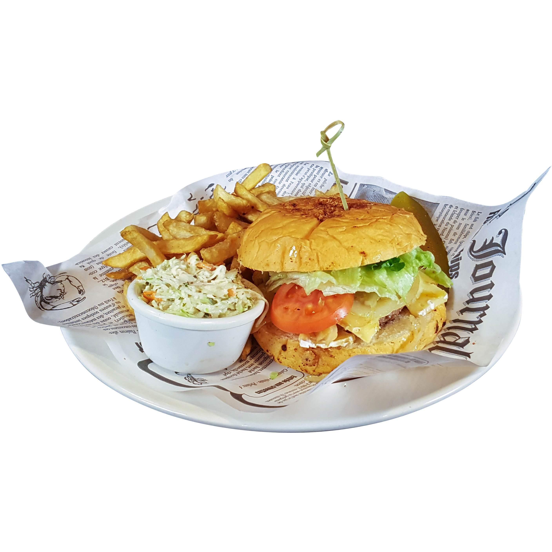 Burger au brie, oignons et champignons